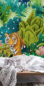 Nástenná maľba tiger v džungli